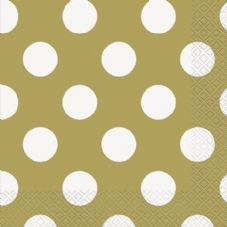 16 50th Anniversary Gold Dotty Napkins